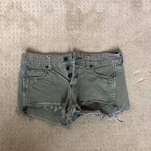 Army green jean shorts